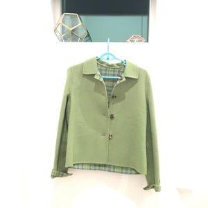 NWOT Reversible green / green plaid jacket